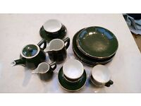 APILCO French bistro tableware - teapot/jugs/dinner & side plates/coffee cups - dark green