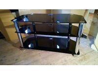 Tv Stand DVD Sky box Surround Sound BLACK GLASS 3 Tier Solid Unit 90 x 40 x 50 cm