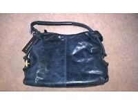 BrandNew Genuine Tula Blue Leather medium distressed classic shoulder bag with Dust Bag