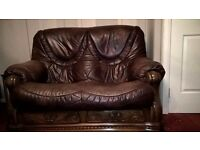 Brown Land of Leather with Oak frame suite. 3 + 2 sofas with drawer space and reclining chair.