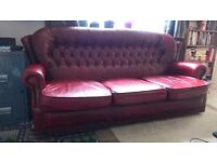 Red Leather Buttonback Chesterfield Style 3 seater Sofa / Couch & Armchair