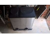 Two storage stainless bin