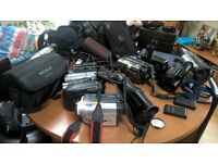 bundle of video camera's and cases