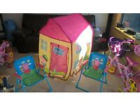 peppa pig pop up tent and deck chairs