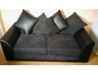 2+3 black and grey sofa with cushions *excellent condition*