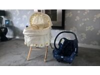 Moses basket and stand / new born baby car seat