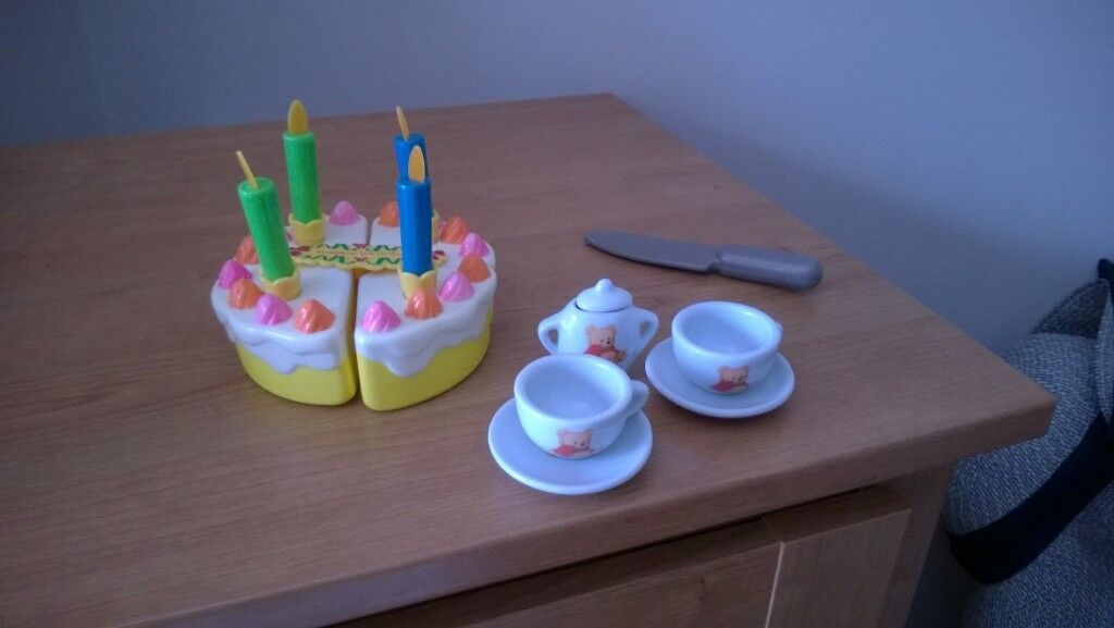 Pretend Birthday Cake With Teddy Bear Cups And Saucers