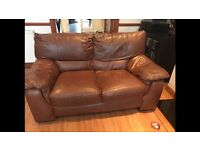 Tan leather 3 & 2 seater sofa from DFS