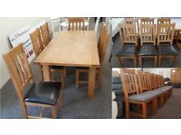 Julian Bowen Astoria Extending Oak Dining Table & 6 Dining Chairs Can deliver