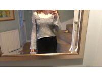 Used Hollister Grey Knit Off the Shoulder Jumper Size M