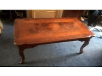 LARGE PARQUETRY/MARQUETRY SERPENTINE COFFEE TABLE
