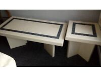 Lovely matching pair of marble coffee tables.