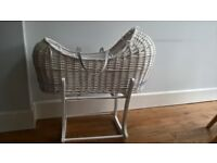 Mothercare Apple & Pears White Wicker Moses Basket & 2 Stands