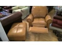 Tan Leather Recliner chair & storage Footstool Delivery Poss