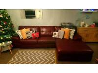 Burgundy leather corner sofa