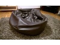 FOR SALE LEATHER BEAN BAG IN CHOCOLATE LEATHER