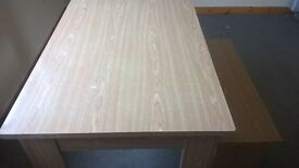 Wood effect bench table and chairs