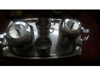 STAINLESS STEEL TEA/COFFEE SET ON A TRAY