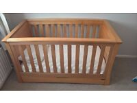 Mamas and Papas Ocean Cot bed and Drawers/Changer Solid Oak