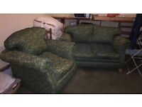 SMALL 2 seater and arm chair green
