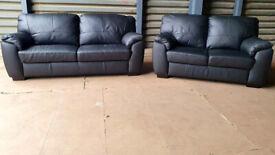 New/Transport Damaged Genuine Leather 3+2 Seater Sofas - Black