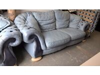 free..lovely leather pendragon chesterfield sofa and chair,free to collect