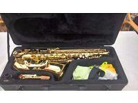 Saxophone in hard case