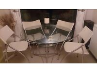 Solid glass table and chairs