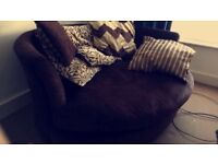 DFS Brown Fabric Cuddle Two Seater Sofa Chair With Cushions & 2x Bean Bags