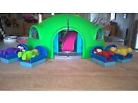 Vintage Teletubbies House with figures.