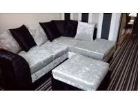 velvet corner sofa with footstool