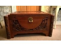 Chinese carved wooden chest