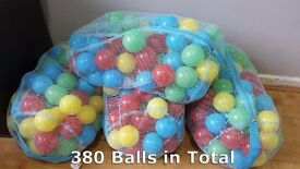 Children's Multi Coloured Indoor Playing Balls(380 in total) With Carrying Nets