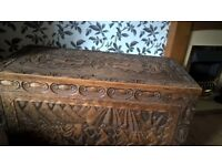 old solid wood trunk / chest all hand carved massive in size delivery avalible