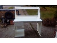 White large dressing table/ desk with furniture shelf