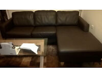 Genuine Leather Corner Sofa excellent condition, can disconnect to 2 pieces for ease of transport