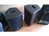 Pair of dB Technologies Arena 8 PA speakers with covers