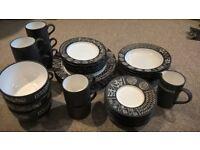 Scraffito Plates, Bowls, Cups, Saucers & Jug