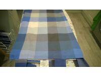 Blue check curtains