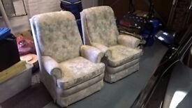 2x Parker Knoll Contemporary Pastel Floral Armchairs, As New
