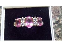 pink topaz and diamond like white sapphire ring,2 grams 9ct gold 80pts,size P (can post if needed)