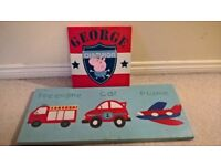 Children's canvas pictures: George from Peppa Pig and Vehicles