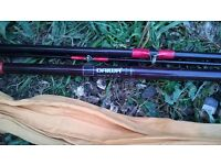 x3 vintage fishing rods + old umbrella and poles.