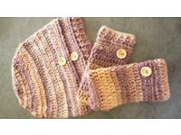 Hand made Ladies crocheted hat and fingerless gloves.