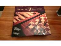 Classic crafted wooden set 7 game compendium brand new chess, draughts, poker etc...