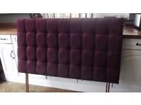 excellent maroon chenille upholstered double bed headboard