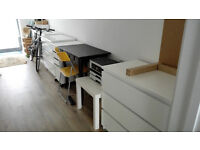 2 x IKEA Kallax shelving units with drawers and cupboards, desk, filing cabinet - RESERVED