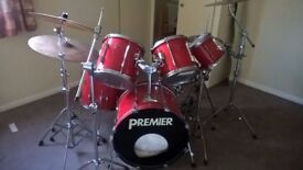 Premier APK Drum Kit Power Shell Rock Ferrari Red Pearl Snare Stands Cymbals Double Bass Pedal