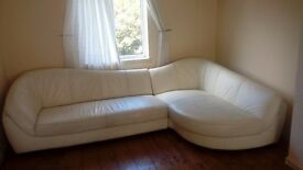 Large white leather corner sofa