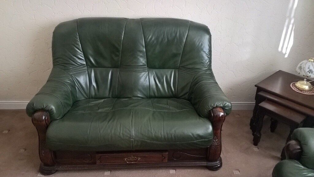 2 X Leather Sofas Green Polished Wooden Trim Storage Drawer Good Condition In Hebburn Tyne And Wear Gumtree